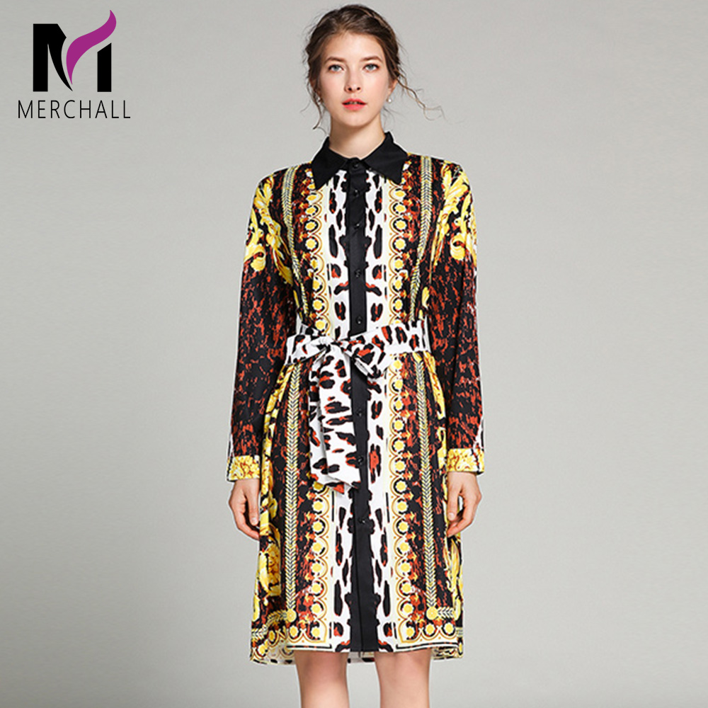 Merchall Spring Fashion Runway Shirt Dress Women 39 s Long Sleeve Sexy Elegant Floal Leopard Printed Loose Belted Vintage Dresses in Dresses from Women 39 s Clothing