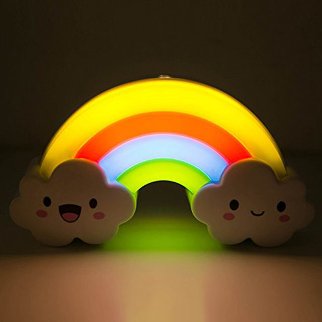 Online shop rainbow led night light lamp for baby kids children rainbow led night light lamp for baby kids children nursery nightlight sound sensor wall lamps decoration home decor lights aloadofball Image collections