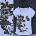 Мода бабочка печатных футболки горный хрусталь Женщины Хлопок 95% О шеи короткий рукав топ девушки сексуальная элегантный Лето футболка femme