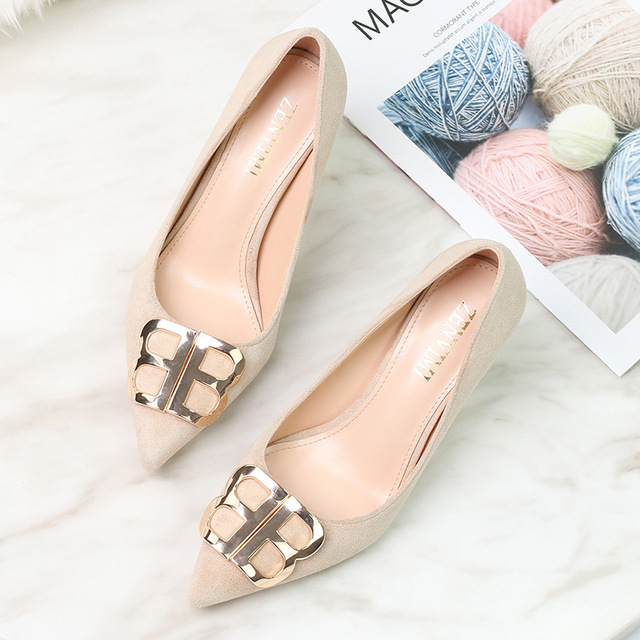 Spring Women's Pumps Flock Pointed Toe Women Pumps 9CM Heel Thin Metal Decoration Party High Heels Black Office Shoes Woman2019