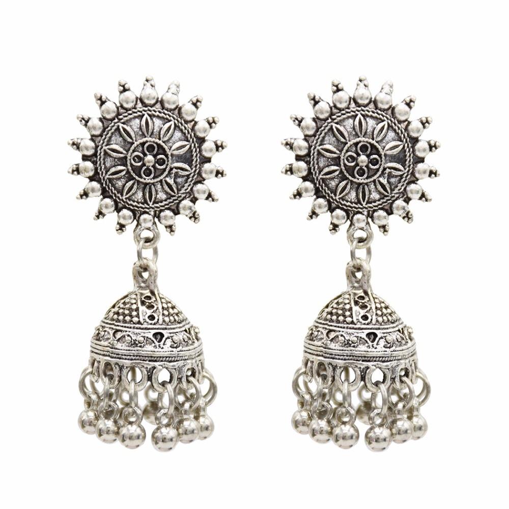 Gypsy Afghan Jewelry Retro Ethnic Silver Indian Jhumka Small Bells Beads Drop Tassel Earrings for Women Bohemian Pendiente Gift 2