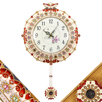 Han edition luxury fashion wall clock sitting room quiet creative large modern metal decoration clock clock quartz clock