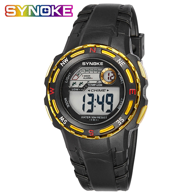Synoke Brand Watch Child Digital Alarm Clock Fashion Sport Kids Shock Wristwatch