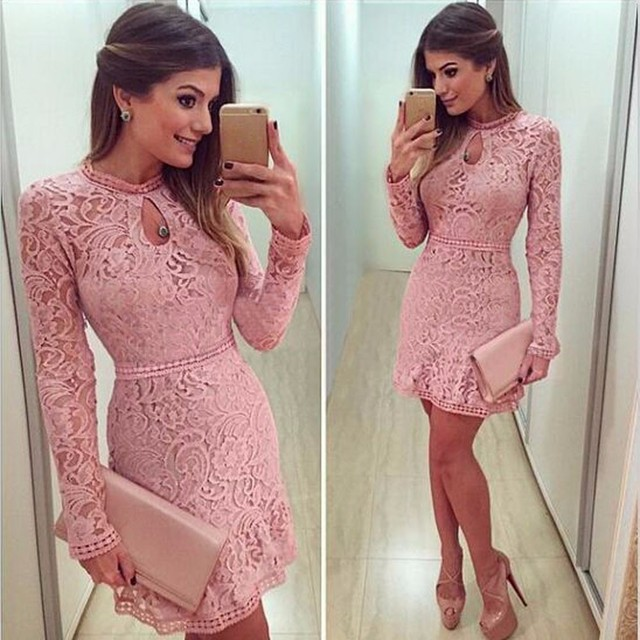 b3b991372983 Lace Dresses Pink Women Dress Sexy Long Sleeve Hollow Tight About Knee Mini  Party Dress Vestido Feminino
