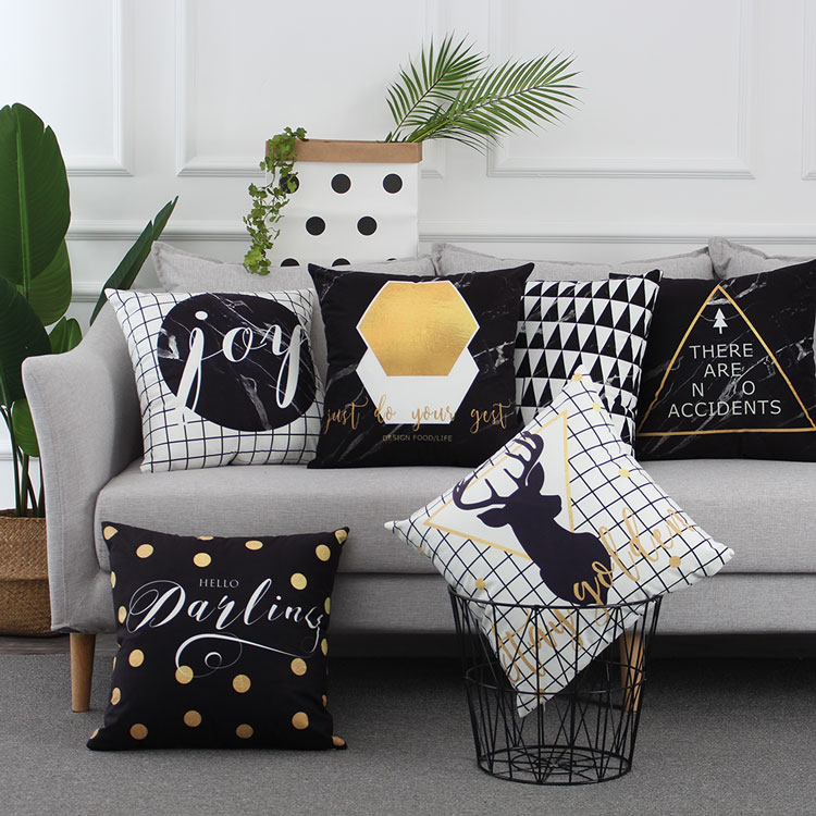 US $3.99 20% OFF|Nordic Style Linen Cushions Decorative Pillow Cover Deer  Grey Black Throw Pillows Case Geometric Cushions Cover for Sofa 45x45-in ...