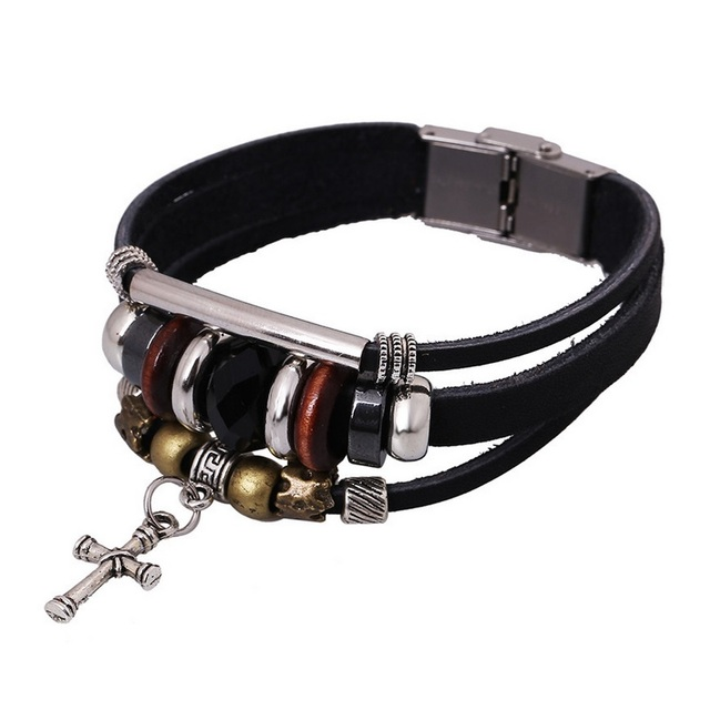 New Cross Stainless Steel Jewelry Urban Fashion Leather Strap Charm Bracelets Bangle Valentines Gift For