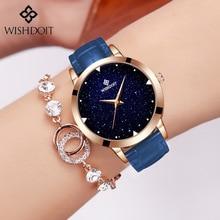 WISHDOIT Luxury Brand Blue Casual Geneva Women Starry Sky Design Quartz Watch Fashion Dress Hodinky Female Clock Reloj Mujer