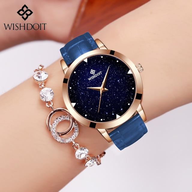 WISHDOIT Luxury Brand Blue Casual Geneva Women Starry Sky Design Quartz Watch Fa