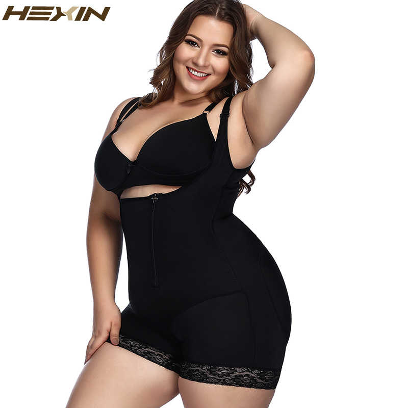 013ebe5b93b1d HEXIN Plus Size 6XL Waist Slimming Shaper Lace Underwear Zipper and Hooks  Hot Body Shaper Shapewear