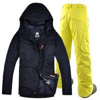 Gsou снег Бесплатная доставка 2018 Новый лыжный костюм комплект Для мужчин лыжи открытый сноуборд лыжи комплект водонепроницаемая и ветрозащи...