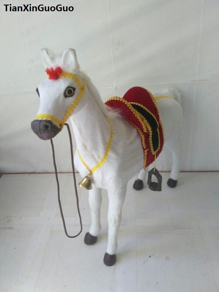 Cheval de simulation modèle dur prop grand 48x44 cm plastique et fourrures cheval blanc avec selle, décoration de la maison jouet cadeau s1768
