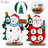 FENGRISE Santa Claus Snowman Wooden Tree Christmas Ornaments Christmas Decorations For Home DIY Craft New Year