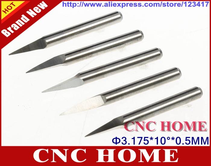 10pcs 3.175mm shank 60 Degree 0.1mm Carbide PCB Engraving Bits CNC Router Tool