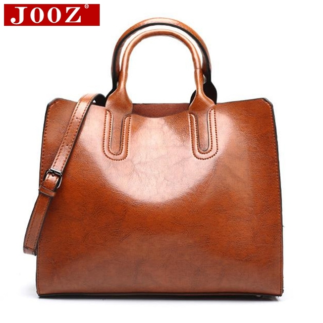 Ladies Oil wax Leather hand bag for Women Famou Brand Trunk Handbags Luxury Designer Femme Casual Tote large Travel Shoulder Bag 1