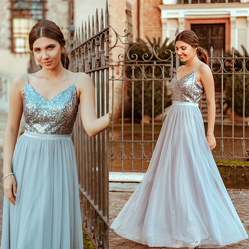 Vestidos De Damas De Honor Long   Bridesmaids     Dresses   Ever Pretty EP07392 Elegant Sequins A Line V Neck Tulle Wedding Party Gowns
