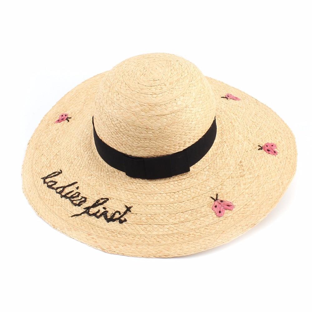 Women Summer Large Brim Beach Hat Fashion Letter Ladybug Embroidery Straw  Hats Raffia Sombreros(china