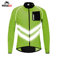 WOSAWE High visibility Motorcycle Jacket Mens Windbreakers Waterproof Light Weight Safety Motocross Mountain Bike Clothing