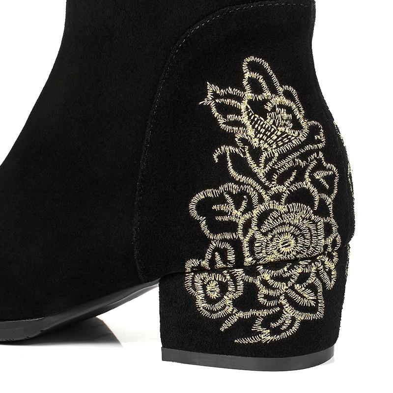 Tobillo Nieve Las Otoño Mujer Mujeres Zapatos Moda Bordar Invierno Botas Damas Tacón Bajo Lujo Plaza De Casual Negro Para twxpFxBq