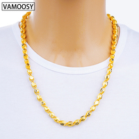 Hot Male Necklace Cuban Colar Twisted Choker Chain 60cm Pure 24K Gold Chain Necklaces for Men 2018 Fashion Long Necklace Jewelry
