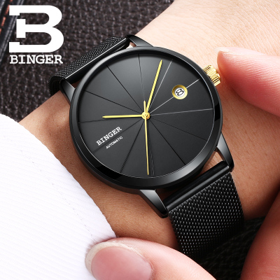 Binger Luxury brand new black watch stainless steel watch fashion automatic mechanical hollow out business mens watches tevise fashion auto date automatic self wind watches stainless steel luxury gold black watch men mechanical t629a with tool