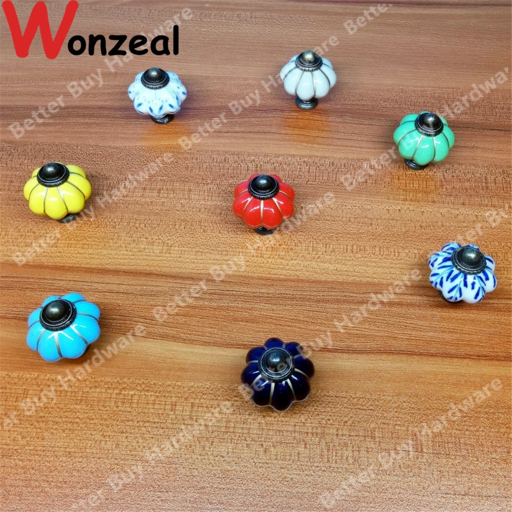 Dia.34mm Pumpkin Colored ceramic knob Blue color Single Hole knob Zinc alloy Kitchen Furniture knob drawer pulls 10pcs kitchen furniture pull pumpkin shape pastoralism ceramic knob various color single hole knobdrawer knob dia 40mm