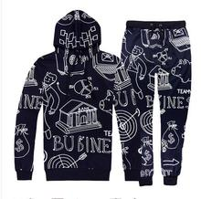 Tide male and female casual suit set sweater trousers pants two pieces sets super star hip hop stage clothing wear spring autumn