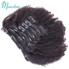 Monstar Afro Kinky Curly Clip In Extensions Peruvian Weave Remy Human Hair Clip Ins Sale Natural Color 7Pcs 120g/Set Full Head(China)
