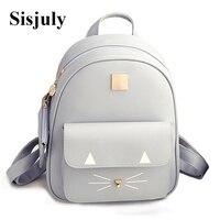 Hot Sale Cat Printing Backpack PU Leather Mini Backpacks Women School Bags For Teenage Girls Bags