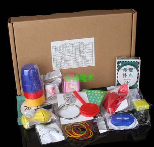 Magic Trick Set 20 Kinds Magic Play with DVD Teaching Professional Magic Tricks Stage Close Up Magic Prop Toy YH107