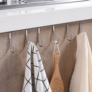 vanzlife Stainless steel free punching cabinet door without trace hook S-type door hanger hanger door back coat hook small hook