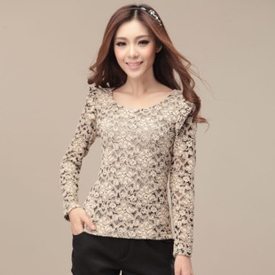 Women's summer o-neck lace long-sleeve T-shirt Women slim basic shirt