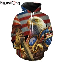 BIANYILONG 2018 New Hoodies Man Galactic Warrior Eagle American Flag Print Men S Fashion Hooded Sweatshirt