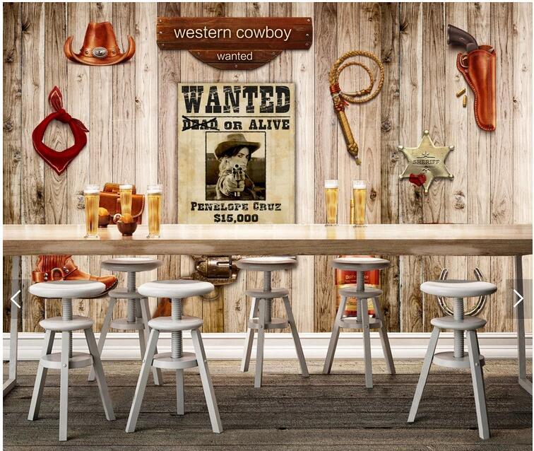En Bois Sur Mesure Papier Peint 3d Western Cowboy Bois Murale Pour