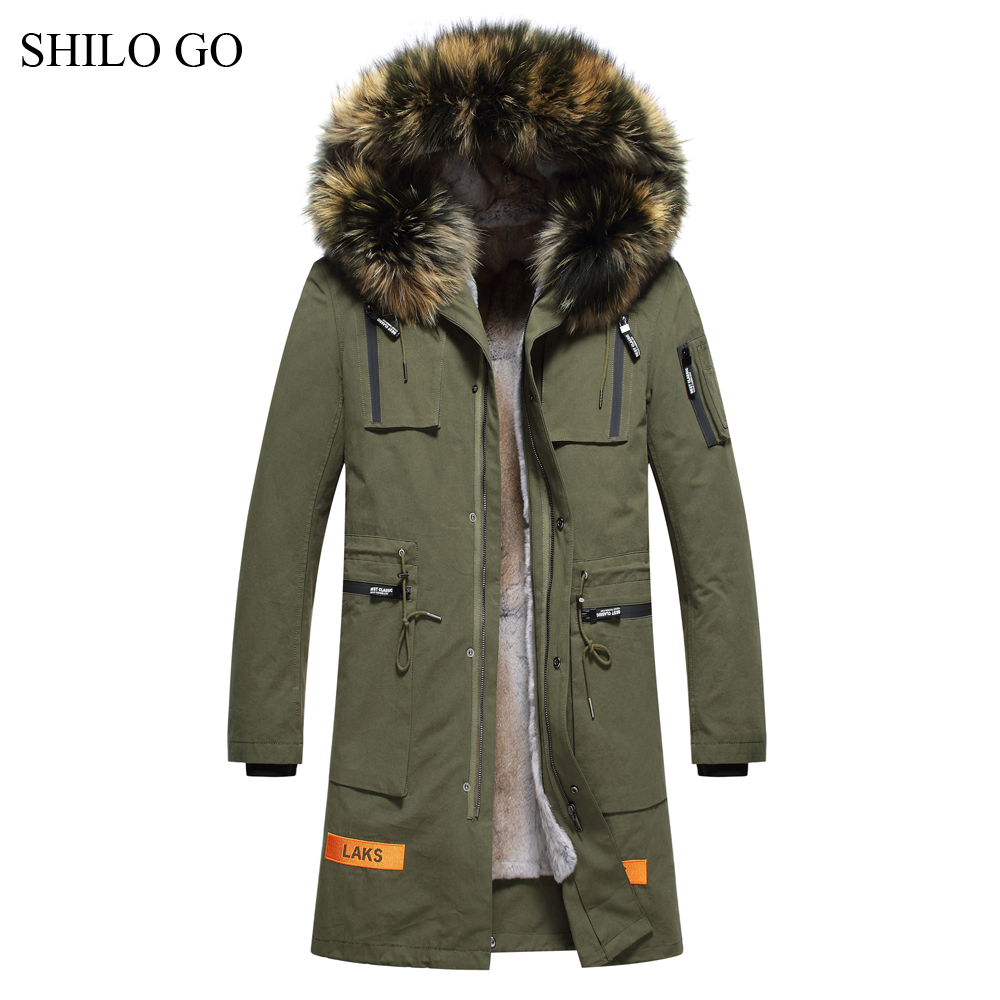 6XL Mens Winter Black Army Green Jacket Coats Thick Parkas Plus Size Real Raccoon Collar Hooded Rabbit Long Outwear Fur Coat children army coat kids real raccoon collar fur jacket outdoor parkas army green rex rabbit fur hooded jacket for girl