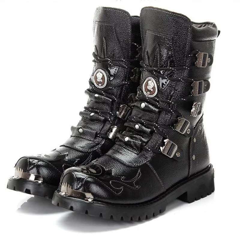 Bottes moto homme chaussures armée bottes hommes bottes militaires 2019 cuir hiver noir cowboy neige métal gothique Punk bottes