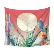 "Colorful Cactus And Moon Psychedelic tapiz Printed Polyester Fabric Wall Decor Hanging Tapestry Wall Gifts for Parents 59"" x 51""(China)"