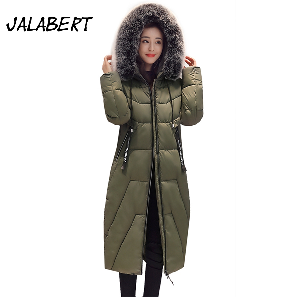 2017 autumn winter coat new women long Slim fashion hooded Stitching big Fur collar jacket Female Thicker warm Parkas 2017 new winter fashion women down jacket hooded thick super warm medium long female coat long sleeve slim big yards parkas nz18