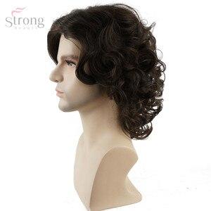 Image 5 - Strongbeauty peruca de cabelo encaracolado, peruca castanho natural sintético
