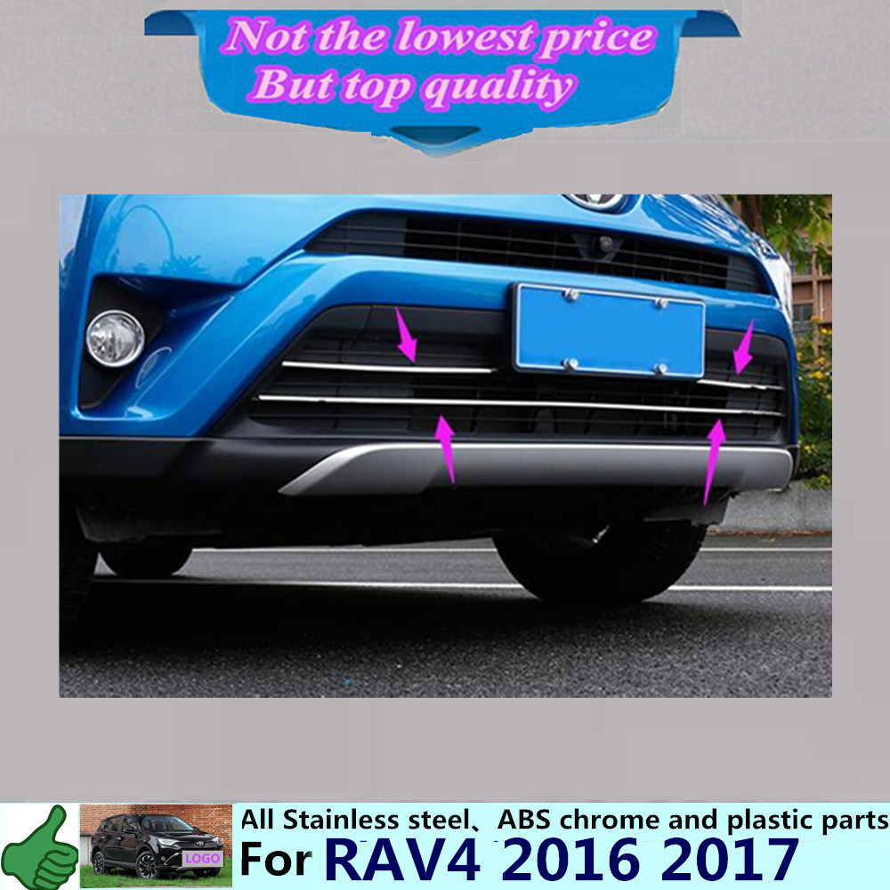 ФОТО Car body protection stainless steel trim front racing Grid Grill Grille Around panel 3pcs for T0Y0TA New RAV4 2016 2017