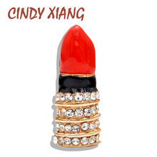 CINDY XIANG New Arrival Rhinestone Lipstick Brooches for Women Red Color Enamel Fashion Jewelry Wedding Accessories Coat Gift(China)