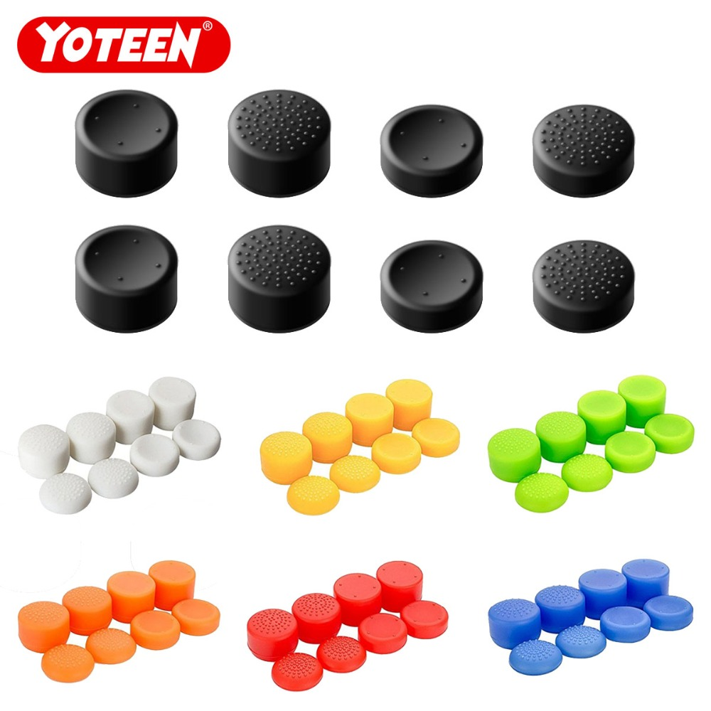 Yoteen 8Pcs Silicone Thumb Stick Grips Cover Caps Analog Game Controller for PS4 PS3 Switch Pro Xbox one Xbox 360 for Wii Pro image