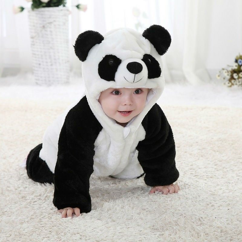 New Arrival font b Baby b font Boy Girl panda Hooded Zipper Rompers Cute font b
