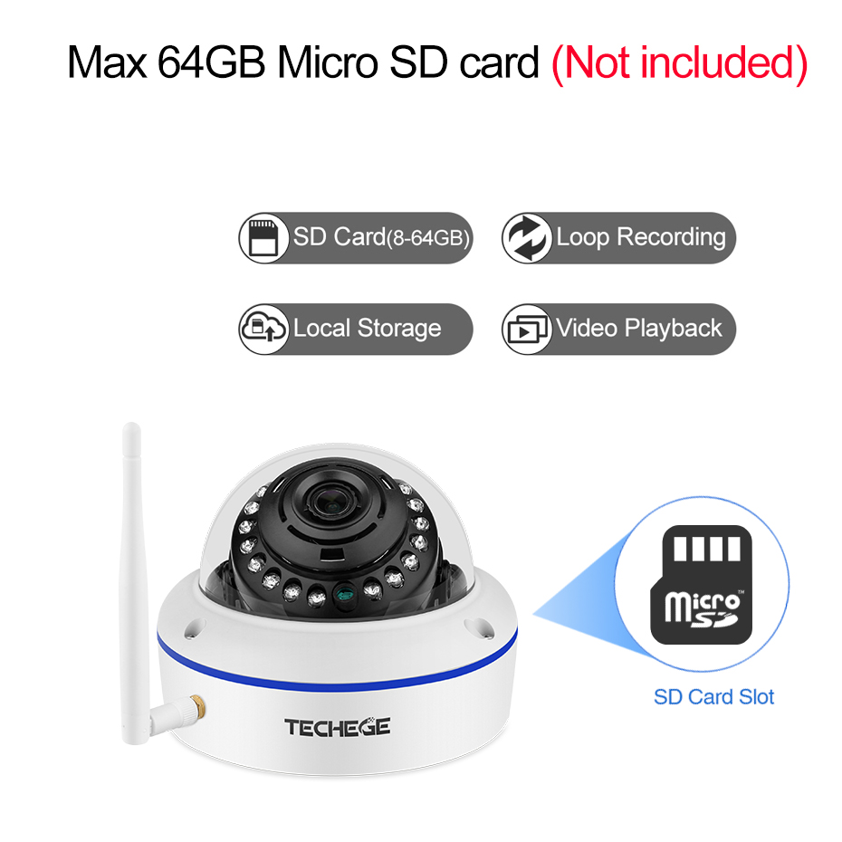Image 4 - Techege 1080P Wifi Dome Camera Audio Wireless Wired Night Vision Vandalproof 2MP CCTV Camera SD Card Slot Max 64G Free Adapter-in Surveillance Cameras from Security & Protection