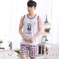 1076 Summer style plaid short pants Men's sleeveless Pajama