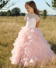 Pink Flower Girls Dress For Weddings Organza Ruffled vestidos de comunion Lace Short Sleeves Girls Party Pageant Dress 2016 FE65