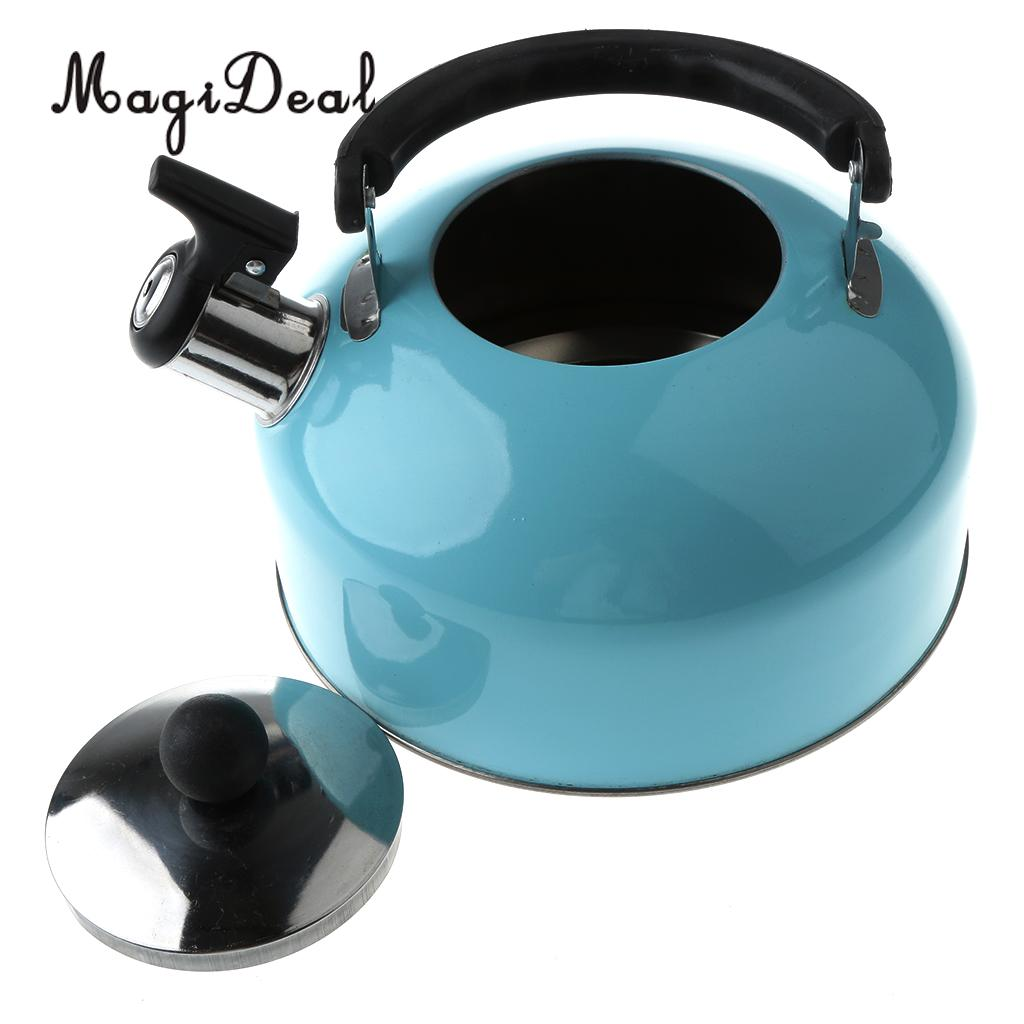 MagiDeal Anti-Hot/Slip Whistling Tea Kettle Gas Stove 3L Stainless Steel Tea Kettle Water Bottle for Home Camping Hiking Travel