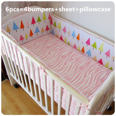 Promotion! 6pcs Cotton Baby Nursery Bedding Cot Crib Bedding Set Bumper ,include(bumpers+sheet+pillow cover)