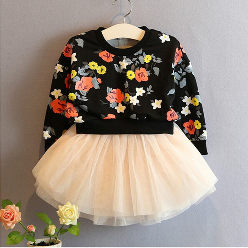 New Long sleeve girl dress flower print baby girls princess party dress brand kids clothes girls tutu dresses