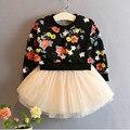 New girl dress flor de impressão meninas do bebê da princesa festa de manga longa dress marca a roupa dos miúdos meninas vestidos de tutu