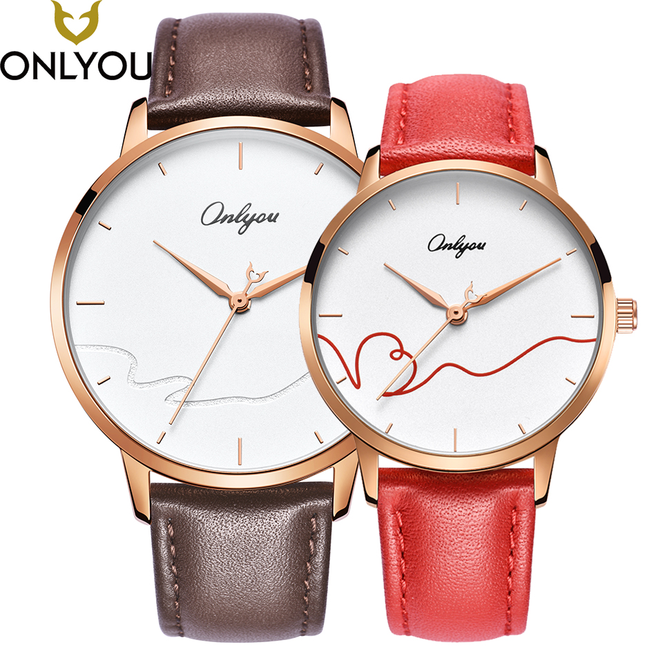ONLYOU Lover Watches Couple Fashion Unique Wristwatch Chinese Style Valentine's Day Present Gift Women Caual Quartz Clock onlyou lover watches couple fashion unique wristwatch chinese style valentine s day present gift women caual quartz clock